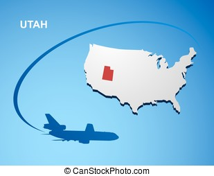 Utah on USA map