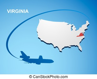 Virginia on USA map