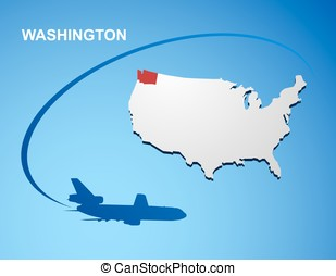 Washington on USA map
