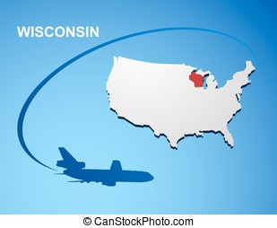 Wisconsin on USA map