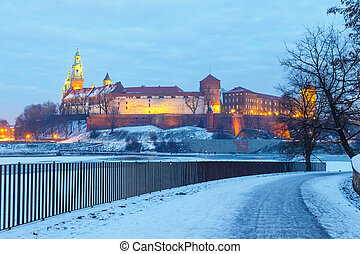 Wawel Castle in the evening in Krakow, Poland