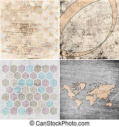 set of grunge geometric pattern