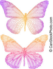 beautiful butterflies - vector butterflies with delicate...