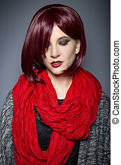 Fashionable Red Scarf - Woman wearing a stylish red neck...