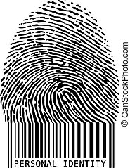fingerprint bar code - personal identity, fingerprint with...