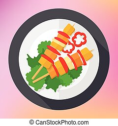 Shashlik kebab barbecue flat icon - Shashlik kebab barbecue...
