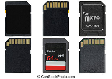 Different types of removable flash memory cards and Micro SD...