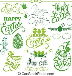 Set of Happy Easter holiday calligraphy. Hand lettering greetings, symbols, icons in green color, isolated on white background.