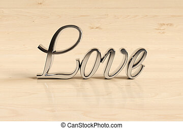 Wording love sign - Metal love sign on wood background