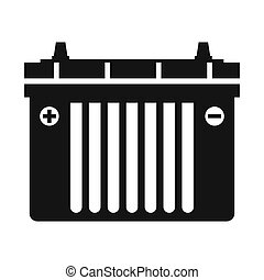 Black flat battery icon isolated on a white background