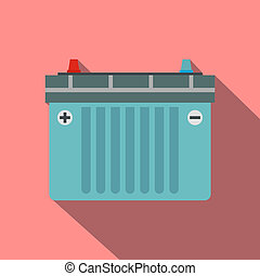 Car battery flat icon with shadow on a pink background