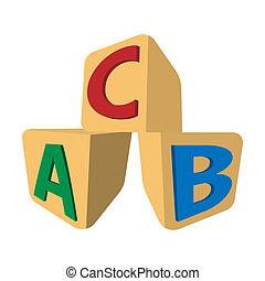 Würfel, Briefe,  abc, Ikone, karikatur
