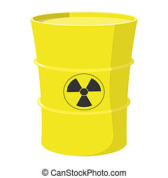 Cartoon barrel with nuclear waste isolated on white...