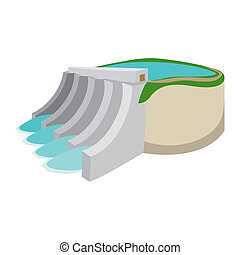 Hydroelectric power station cartoon icon on a white...