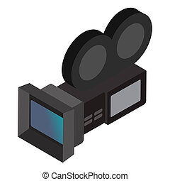 Movie camera isometric 3d icon isolated on a white...