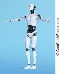 Robot man in welcoming pose.