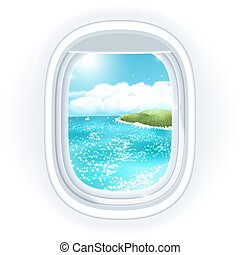 Realistic aircraft porthole (window) with bright sea or ocean in it and tropical island, view through travelling over the sea. Vector illustration, isolated on white.