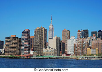 Skyline for Mid-town Manhattan in New York City in Spring...
