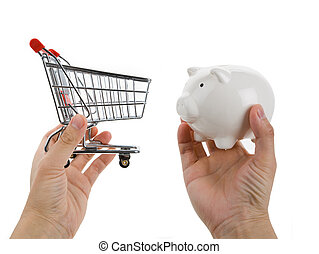 Shopping cart and Piggy bank, busines concept, conflict...