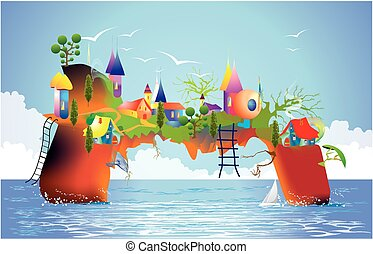 mysterious island, - composition of a mysterious island in...
