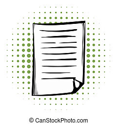 Lined paper comics icon on a white background