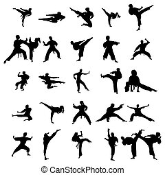 Karate silhouettes set