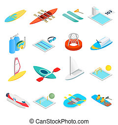 Water sport isometric 3d icons set isolated on white...