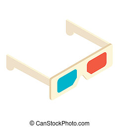 Isometric 3d glasses icon isolated on a white background