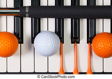 Piano keyboard and different golf equipments - Virtuosic...