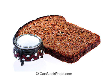 Bread and salt - Black bread and salt in an open saltcellar.