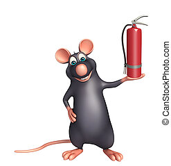 Rat cartoon character fire extinguisher - 3d rendered...