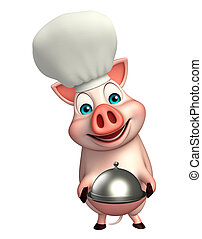 Pig cartoon character with chef hat and cloche
