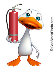 Duck cartoon character with fire extinguisher - 3d rendered...