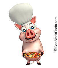 Pig cartoon character with chef hat and pizza