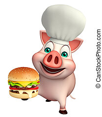 Pig cartoon character with chef hat and burger