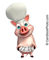 Pig cartoon character with chef hat and dinner plate