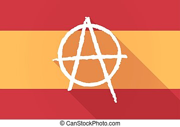 Spain long shadow flag with an anarchy sign - Illustration...