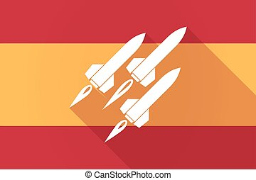 Spain long shadow flag with missiles - Illustration of a...
