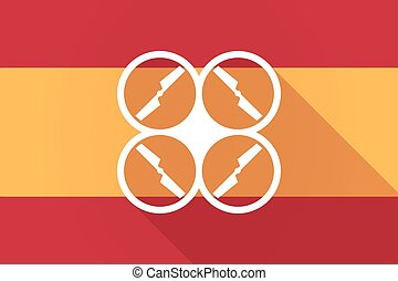 Spain long shadow flag with a drone - Illustration of a...