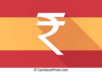 Spain long shadow flag with a rupee sign - Illustration of a...