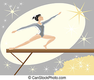 gymnast - hand drawn vector illustration of a female gymnast...