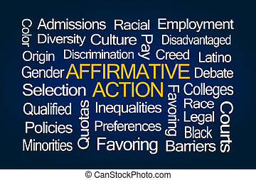 Affirmative Action Word Cloud on Blue Background