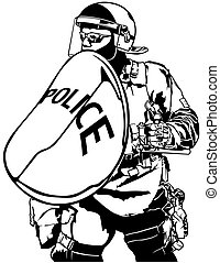 Police Heavy Armor with Shield - Black and White...