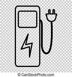 Electric car charging station sign. Line icon on transparent...
