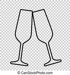 Sparkling champagne glasses line vector icon on transparent...