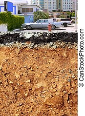 road excavation earthquake city cross section - broken city...
