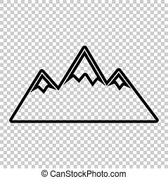 Mountain sign. Line icon on transparent background