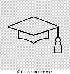 Mortar Board or Graduation Cap, Education symbol. Line icon