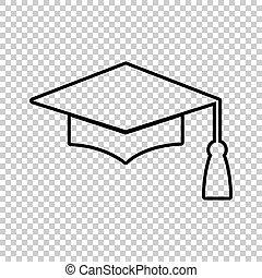 Mortar Board or Graduation Cap, Education symbol. Line icon