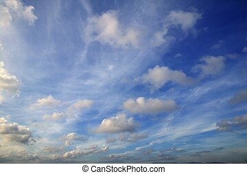 Blue beautiful sky with white clouds view in sunny day